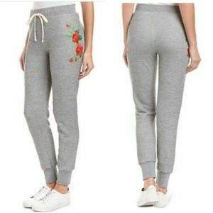 Wildfox Gray Embroidered Rose Jogger Sweatpants